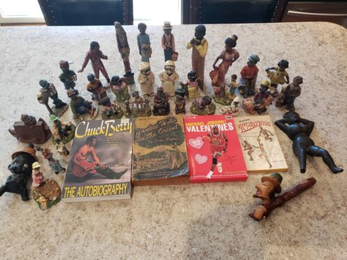 LOT 38 BLACK AFRICAN AMERICANA PCS. MOSTLY FIGURES DISPLAY CULTURAL PEOPLE RARE