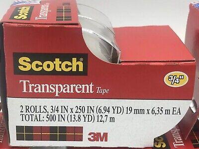 Scotch Transparent Tape 34 X 250 2 Rolls Total 1 Pack 3m Clear Tape 500