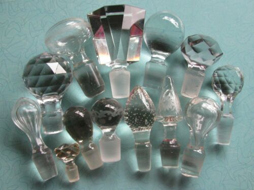 Lot of 13 Vintage Clear Glass Decanter or Cruet Stoppers, Perfume?