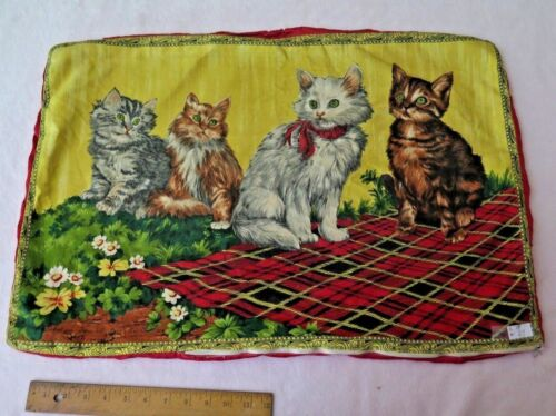 "Antique French Vintage Cat Cotton Pillowcase c1938~18""L X 27""W"