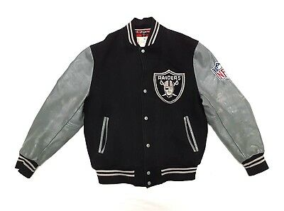 RARE VINTAGE SHAIN OF CANADA NFL OAKLAND RAIDERS WOOL LEATHER SATIN JACKET L for sale  Canada