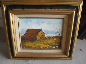 Vintage 1970s Everett Woodson Signed Painting Rustic Barn in Field  Framed