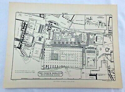 circa 1880s map of the forum romanum - in rome !  ( adam & charles black )