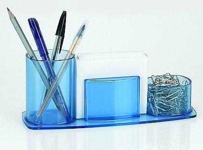 Acrimet Millennium Desk Organizer Pencil Paper Clip Cup Holder Wpaper Blue