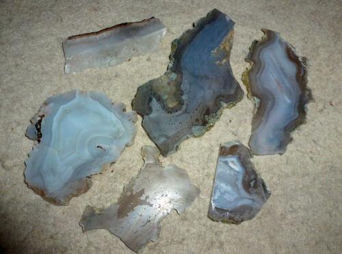 6 Blue Luna  Agate Rock Slabs  Great patterns