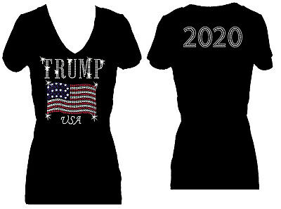 - TRUMP RHINESTONE 2020 ELECTION BLING WOMENS V NECK SHORT SLEEVE BLING TEE SHIRT