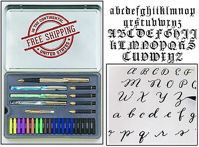 Calligraphy Letters Pen Set Metal Case Ink Cartridge Practice Pad Paint Draw Kit