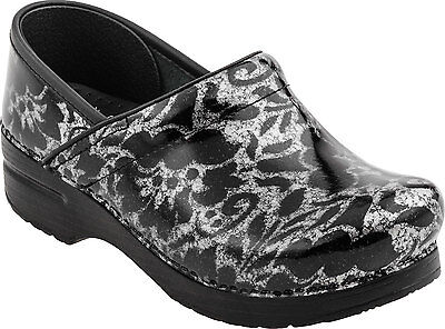 Dansko Professional Clog Silver Floral Patent Womens sizes 36-42/6-12 NEW!!