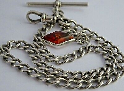 Fabulous antique solid silver pocket watch albert chain & silver fob set amber