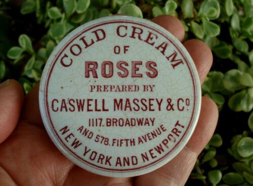 Antique,(c1880) underglaze-advertised NEW YORK & Rhode Island Cold Cream pot lid