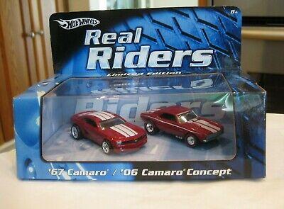 HOT WHEELS REAL RIDERS 2 CAR SET~1967 & 2006 CHEVY CAMARO~