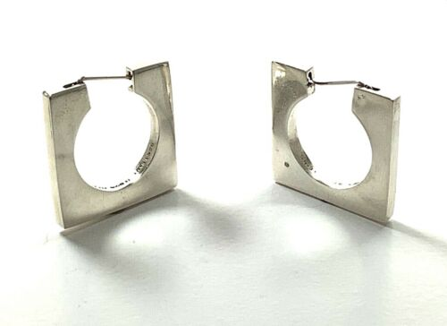 TAXCO Mexico 925 Sterling Silver Modernist Sculpture/Geometric Earrings, 31.5mm