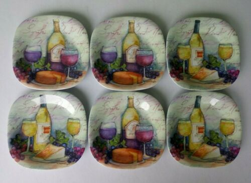 KELLER CHARLES MELAMINE PLATES w/ WINE & CHEESE MOTIF - SET OF 6