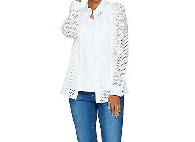 Denim & Co. Button Front Eyelet Shirt with Knit Tank Top White Large Size -