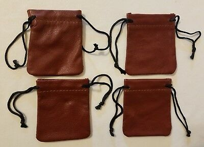 4 Brown Genuine Leather Small 3 Drawstring Pouch Bag Jewelry Coin Renaissance