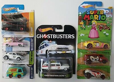 Hot Wheels Retro Ghostbusters A-Team Mystery Machine Herbie VW Love Bug Mario