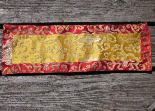 "TIBETAN BUDDHIST SHIMMERY LOTUS MOTIF BROCADE ALTAR CLOTH 6"" X 18"" NEPAL"