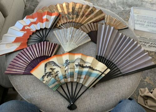 25 Vintage Fans Oriental Silk Plastic Paper Folding & Fixed & Gift Cards