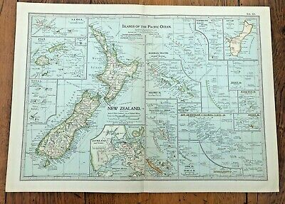 1903 large colour fold out map titled - islands of the pacific ocean  !