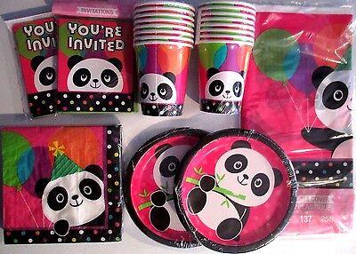 PANDA - MONIUM Birthday Party Supply Kit Set w/ Invitations - Panda Birthday Party Supplies