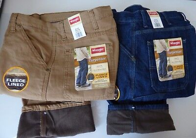 Mens Wrangler Fleece Lined Carpenter Jean Pant Warm - Work Fishing Hunting ()