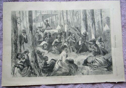 1872 BLACK AMERICAN CAMP MEETING IN THE SOUTH HARPER'S WEEKLY ENGRAVING PRINT