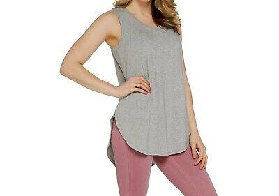 AnyBody Loungewear Women's Cozy Knit Side Split Tank Top Solid Grey X-Large Size Top Cotton Knit Loungewear