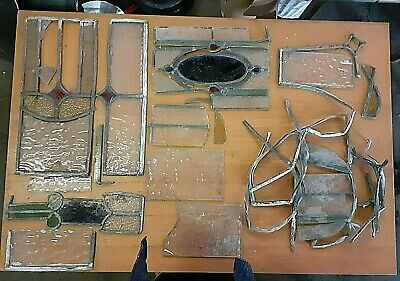 Job Lot Of Antique Victorian STAINED GLASS Leaded Project Art Coloured