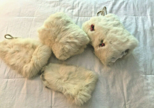 Lot of Vintage Rabbit Fur Bonnets and Hand Warmers - 2 Bonnets 2 Hand Warmers