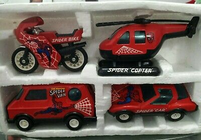 1980's BUDDY L SPIDER-MAN SET Car, Copter, Van & Bike helicopter motorcycle used