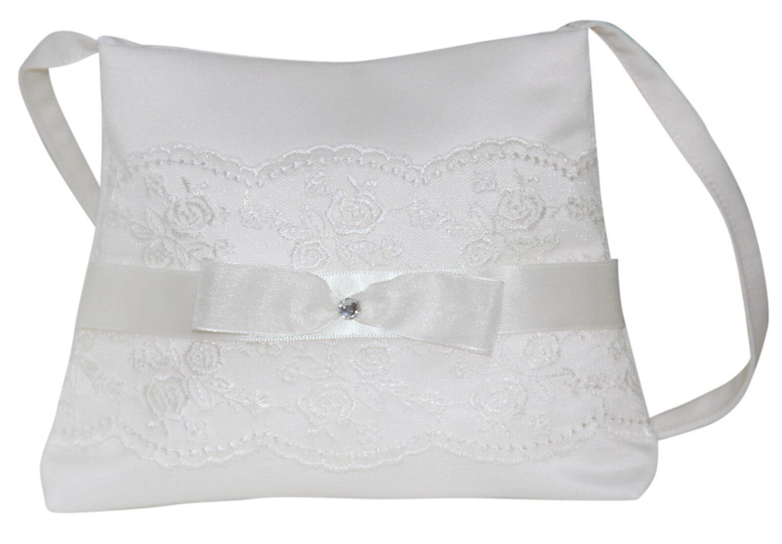 HBH Brautmoden Brauthandtasche aus Satin mit einer Schleife und Spitze verziert