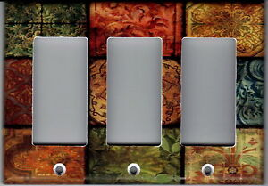 TUSCAN MOSAIC TILE PRINT- TUSCAN HOME DECOR LIGHT SWITCH PLATE