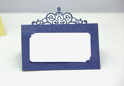 Party Place Cards (Navy Blue Laser Cut Wedding Party Name Table Place Cards Free Stand)