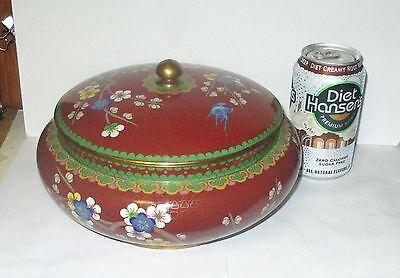 "MASSIVE 9"" CHINESE CLOISONNE RED ENAMEL FLORAL BLOSSOM BIRD BOWL JAR BOX"