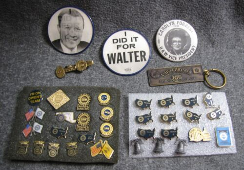 37 UAW United Automobile Workers Buttons ETC 2 Walter Reuther Flashers