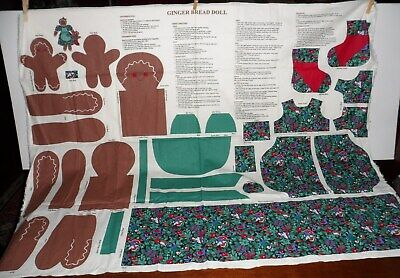 Vintage Christmas Gingerbread Mama Doll And Baby Fabric Panel Sew Craft  ()