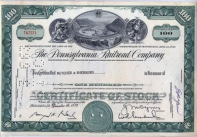 Pennsylvania Railroad Company Stock Certificate Horseshoe Curve Green (Pennsylvania Railroad Company)