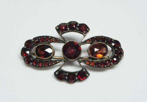 Antique/VTG Victorian Bohemian Rose Cut Garnet Brooch/Pin- 2 Ovals + Round Lg/Sm