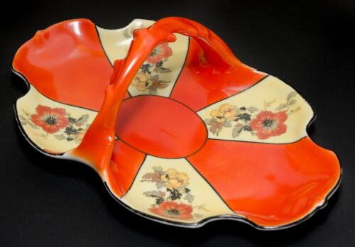ES Germany PROV SAXE Handled Tray Orange Yellow Floral Antique