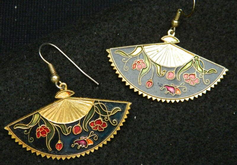426#j-- Earrings Pierced Enameled Open Fan Design Vintage