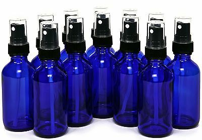 Small 2 Ounce Bottle (Glass Spray Bottles - 12 Piece 2oz Cobalt Blue Small Glass Bottles Black Sprayer )