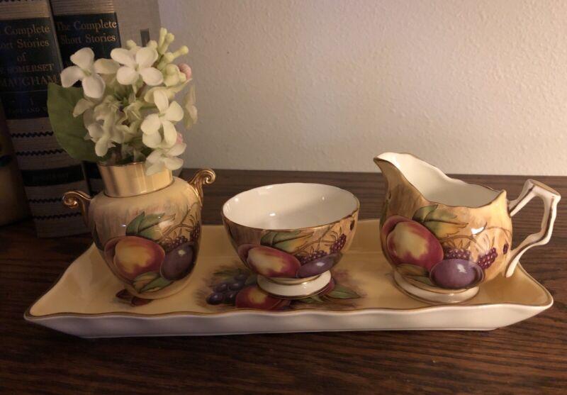 Aynsley Fruit Orchard Mini Creamer Sugar Vase Cracker Tray Signed Jones Brunt