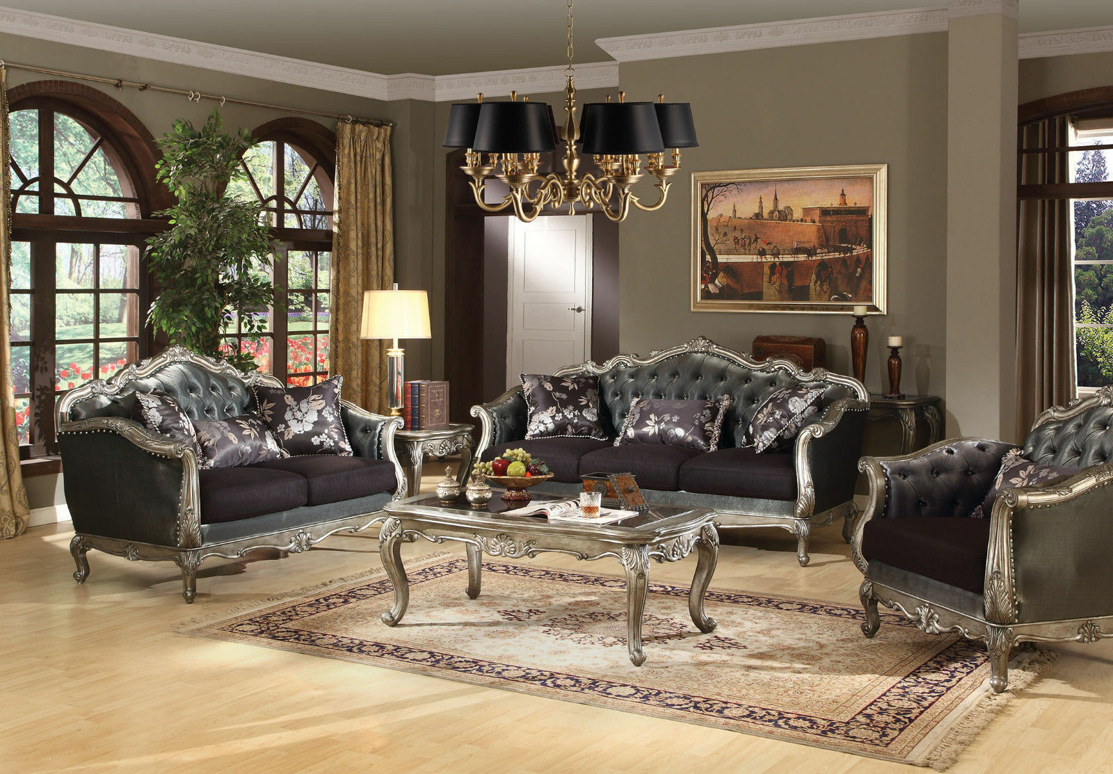 Acme Furniture Chantelle Platinum Sofa and Loveseat Living R