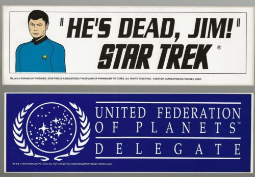 Lot of 8 Different Vintage Star Trek Bumper Stickers 4 TOS - 4 TNG - Unused