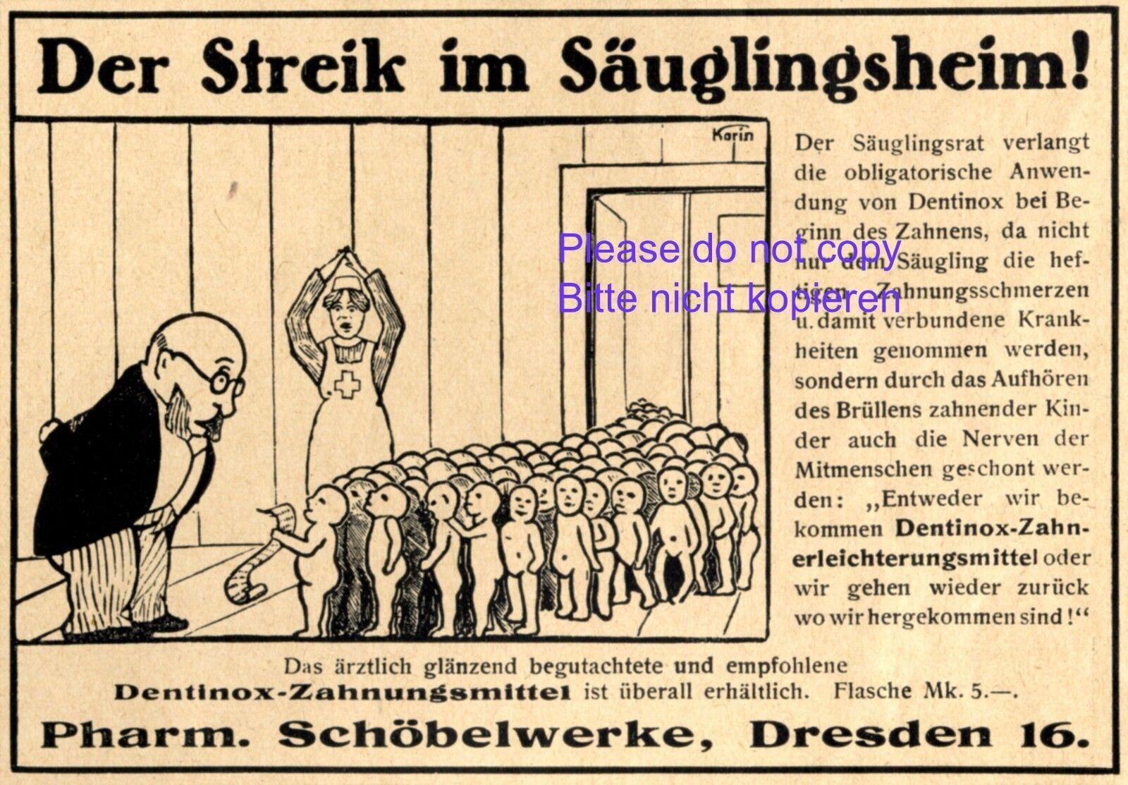 Zahnungsmittel Dentinox Reklame 1921 Baby Zähne Streik Säuglingsheim Zahnarzt +