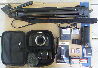 Canon EOS Rebel T3i with EF-S 18-55mm Lens, Tripod, Mic, Batteries, and More