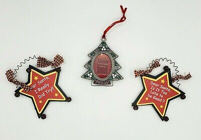 Ornament Set of 3 One Christmas Tree Photo Frame, Two Rustic Stars w Bells