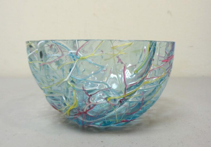 "RARE ANTIQUE KRALIK (BOHEMIAN) ""PELOTON"" GLASS ART GLASS FINGER BOWL"