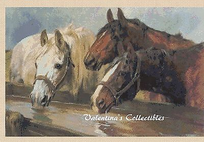 Horses Drinking Counted Cross Stitch COMPLETE KIT  #2-319