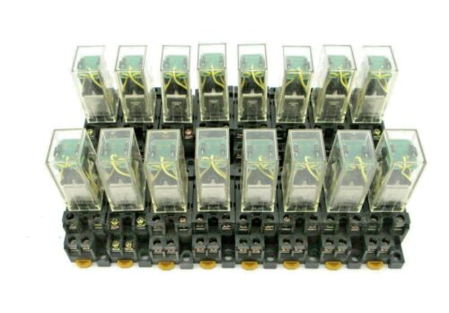 Lot of 16 - OMRON LY2-D4 Relay and Socket 24VDC with built in diodes